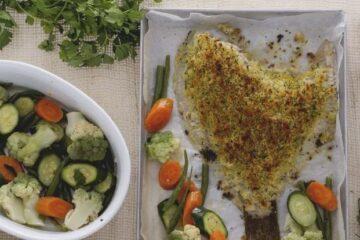 Rodaballo gratinado con verduras